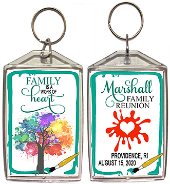 Family reunion keychain favors in Work of Heart design are personalized with your family name, date & location.