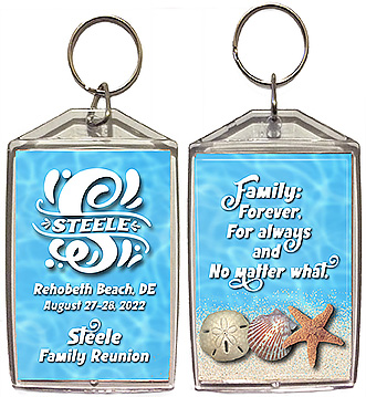 Family reunion keychain favors with a beach design are personalized with your family name in monogram and your reunion date and location.