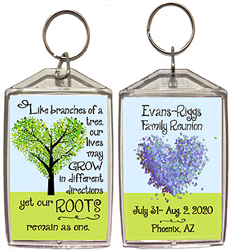 Family reunion keychain favors in Branches design are personalized with your family name & reunion date & place.