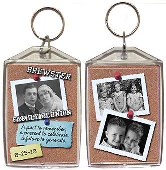 Family reunion keychain favors in Bulletin Board design are personalized with 3 of your photos, family name & reunion date.