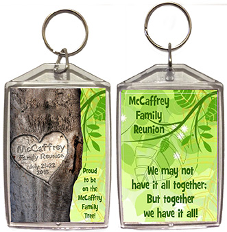 Family reunion keychain favors in Carved Tree design are personalized with your family name & date.