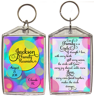 Family reunion key chain favors in Circle design are personalized with your family name & reunion date & place