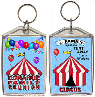 Family reunion keychain favors in Circus design are personalized with 3 of your photos, family name & reunion date.