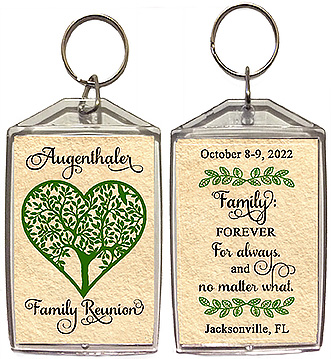Family reunion keychain favors with a heart shaped family tree are personalized with your family name and reunion date & location, with the quote; family forever, for always, and no matter what.
