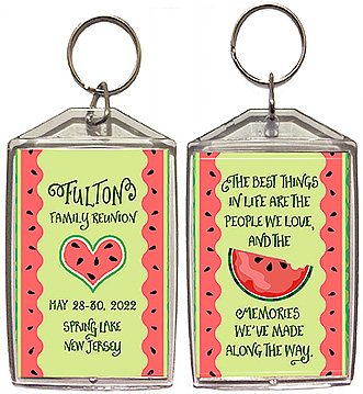Family reunion keychain favors in a fun watermelon design are personalized with your family name, reunion date & reunion place, with the quote: the best things in life are the people we love and the memories we've made along the way.