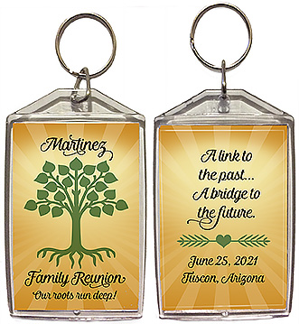 Family reunion keychain favors with a tree with roots design are personalized with your family name, reunion date, location, and the quotes 'our roots run deep' (front) and 'a link to the past...a bridge to the future' (back).