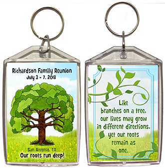 Family reunion keychain favors in Family Tree design are personalized with your family name, date & place.