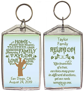 Family reunion keychain favors in Word Art Tree design are personalized with your family name in the tree & date and reunion place.