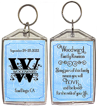 Family reunion keychain favors in a capital letter monogram design are personalized with your family name in the monogram initial, reunion date & place, with the quote: being part of this family means you will love and be loved for the rest of your life.