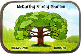 Family Tree Reunion Mint Tin Favors are personalized with your family name, reunion date & place