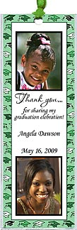 Photo Graduation Bookmarks can include two photos, your message. Border and ribbon in your choice of color.