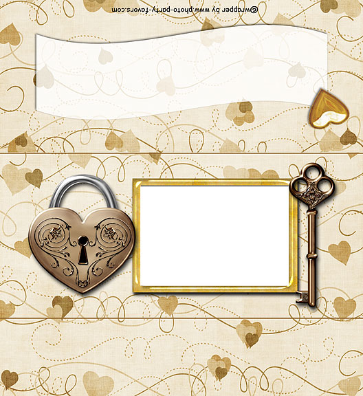 Heart Lock & Key Free Printable 1.55 oz. Candy Bar Wrapper, ready to personalize with your  message.