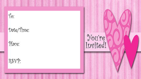 Hearts Free Printable Fill-In Invitations