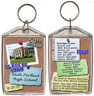 Class reunion keychain favors in Bulletin board design are personalized with your school photo, name, colors and year, with fun facts from your graduating year on back.