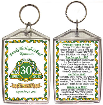 Class reunion keychain favors in Classic emblem design are personalized with your school name, colors and year, with fun facts from your graduating year on back.