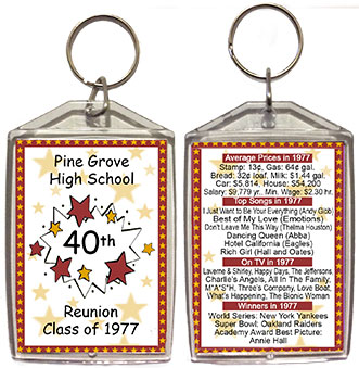 Class reunion key chain favors in Starburst design are personalized with your school name, graduating year, with fun facts from your graduating year on back