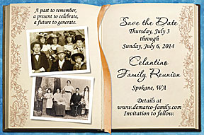 Memory Book Family Reunion Save the Date Cards