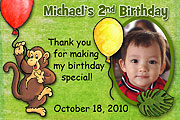 Monkey Birthday Magnet
