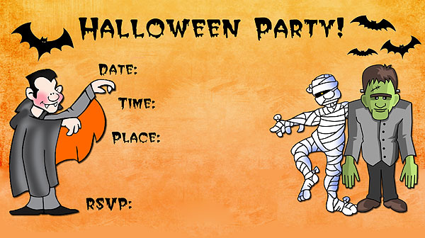 Monsters Halloween Invitations - Free Printable Fill-In ...