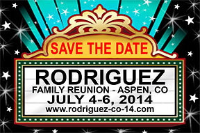 Movie Marquee Family Reunion Save the Date Cards