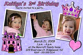 Jungle Animals Photo Party Invitation Princess Birthday