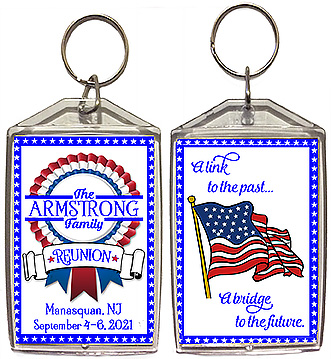 Red, white & blue family reunion keychain favors have a patriotic theme, and are personalized with your family name and reunion date & location.