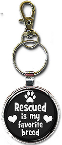 Handcrafted Necklace or Keychain with the message: rescued is my favorite breed.