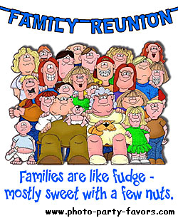family reunion cartoon with caption - families are like fudge; mostly sweet with a few nuts,