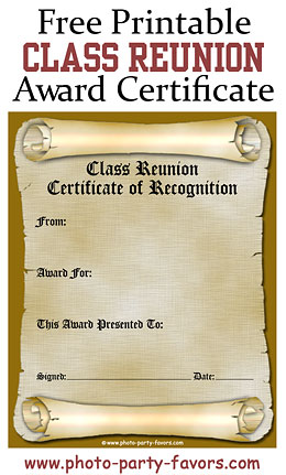 Class reunion awards ideas free printable reunion award certificate free printable class reunion awards certificate plus over 50 ideas for class reunion awards yelopaper Images