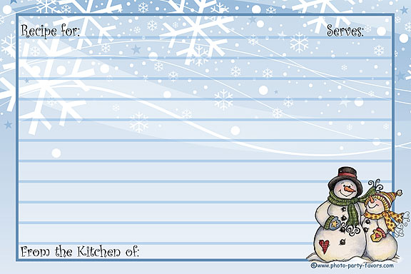 picture about Printable Christmas Recipe Cards known as Snowman Recipe Playing cards - Absolutely free Printable 4 x 6 Inch Family vacation