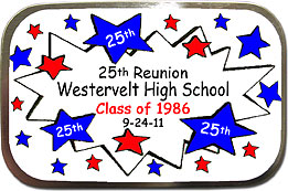Starburst Class Reunion Mint Tins personalized with your school colors, name and year