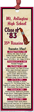 Tassel class reunion bookmark favors are personalized with your school name and colors with fun facts from the year you graduated.