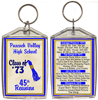 Class reunion keychain favors in Tassel design are personalized with your school name, colors and year, with fun facts from your graduating year on back.
