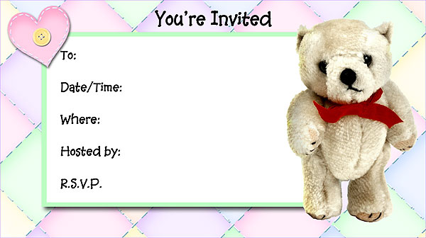 Teddy Bear Invitations Free Printable FillIn Invitations