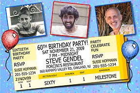 Tickets Photo Birthday Invitation is personalized with 3 of your favoirte photos and your party information