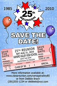Tickets Class Reunion Save the Date Cards are personalized with your high school reunion information including school name, colors, date, etc
