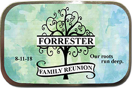 Unfilled Personalized Photo Family Reunion Mint Tin Favors feature a tree monogram with the family name.