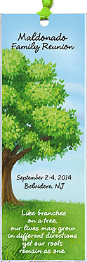 Family Tree reunion bookmark favors are personalized with your family name and reunion date & place.