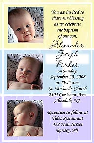Tri Color Cross Baptism Invitation
