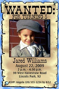 Wanted Poster Photo Birthday Invitation