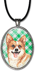 Handcrafted original watercolor art corgi dog necklace is also available as a keychain.