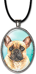 Original watercolor art French bulldog jewelry is available as a necklace or keychain..