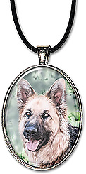 Original watercolor art pendant or keychain features a German Shepherd dog.