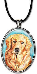 Original art watercolor golden retriever dog pendant is available as a necklace or keychain.