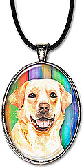 Watercolor original art cat necklace or keychain features a labrador retriever.
