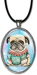 Original watercolor art adorable pug in a sweater is available as a handcrafted necklace or keychain.