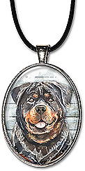 Original art watercolor rottweiler dog necklace is also available as a keychain.