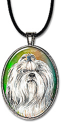 Original watercolor art shih tzu dog necklace is also available as aianychain.