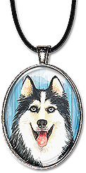 Original watercolor art necklace or keychain features a Siberian husky dog.